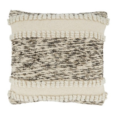 """18""""x18"""" Woven Design with Woven Texture Square Pillow Cover Ivory - Saro Lifestyle"""