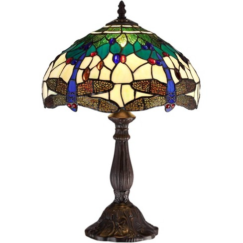 Robert Louis Tiffany Traditional Accent Table Lamp 18 High Dark Brown Dragonfly Art Glass Shade For Bedroom Bedside Office Target