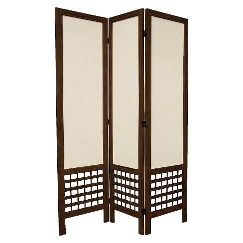 5 12 Ft Tall Solid Frame Fabric Room Divider Burnt Brown 3