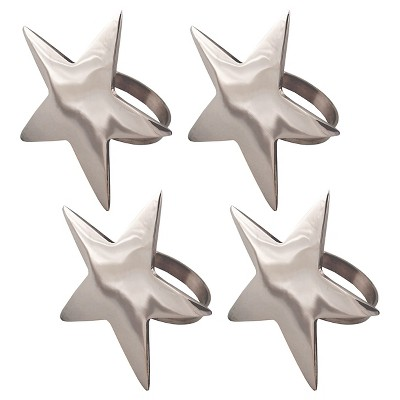 Silver 5 Point Star Napkin Ring (Set Of 4)- Design Imports