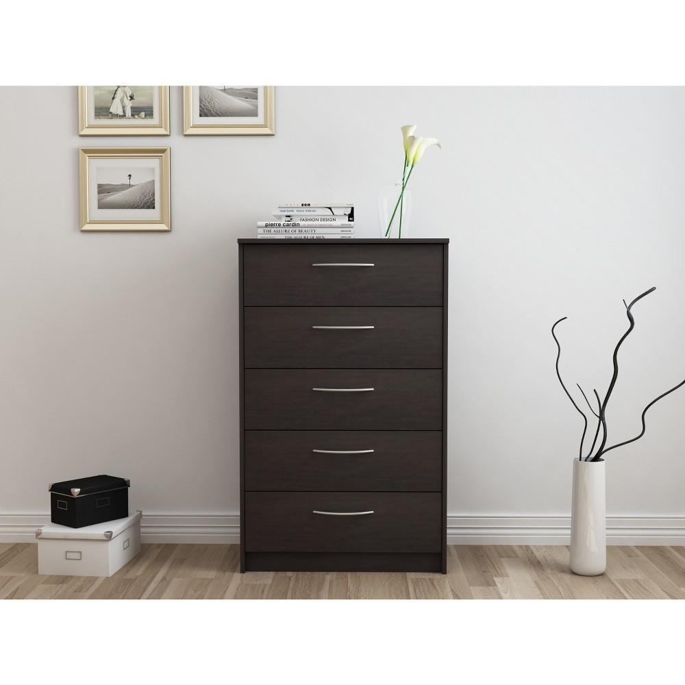 Image of Addison 5 Drawer Chest Black/Brown - Loft 607, Brown Black