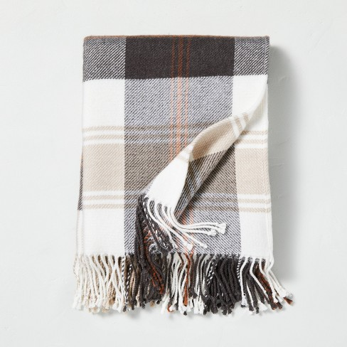Outdoor Fall Tartan Plaid Fringe Throw Blanket - Hearth & Hand™ with Magnolia - image 1 of 4