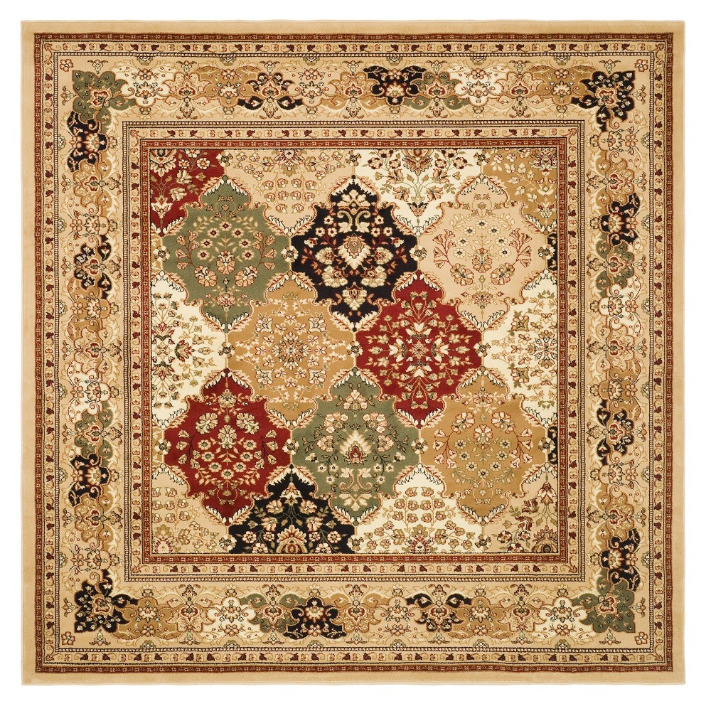 Floral Loomed Square Area Rug 8'X8' - Safavieh, Black