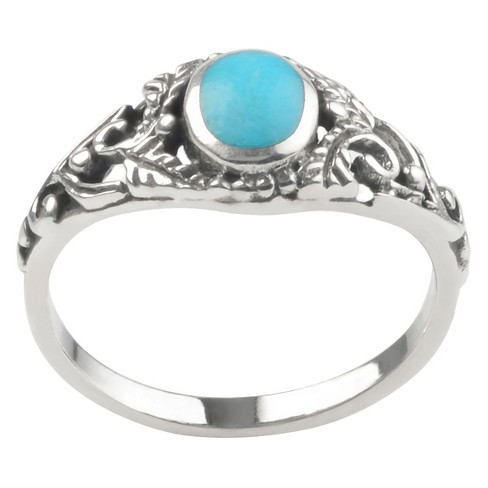 1/8 CT. T.W. Round-cut Turquoise Fashion Bezel Set Ring in Sterling Silver - Blue - image 1 of 2