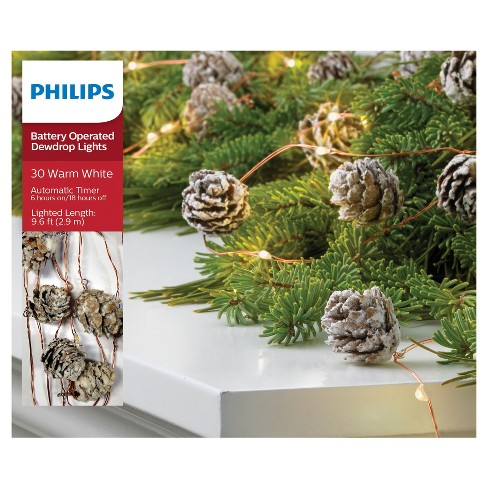 philips 30ct christmas battery operated led frosted pinecones garland dewdrop fairy string lights warm white