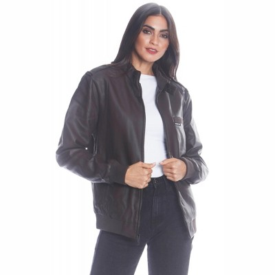 Members Only Women's Faux Leather Iconic Racer Jacket (Men's Cut)