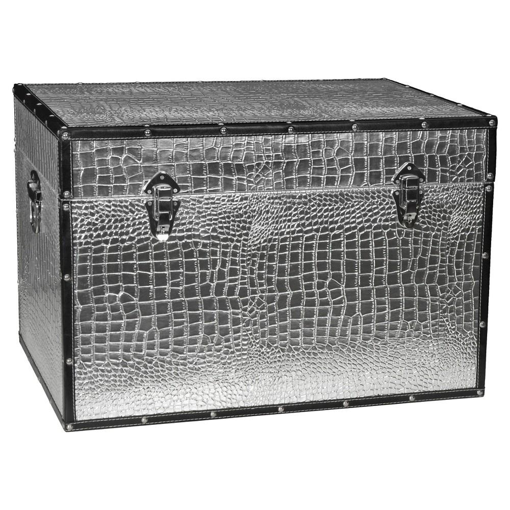 Faux Leather Silver Crocodile Trunk - Oriental Furniture