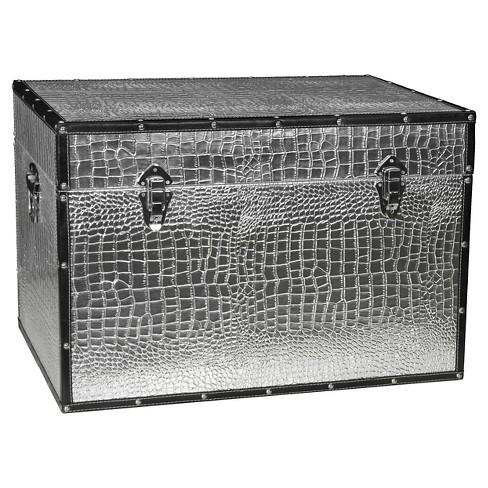 Faux Leather Silver Crocodile Trunk - Oriental Furniture - image 1 of 4
