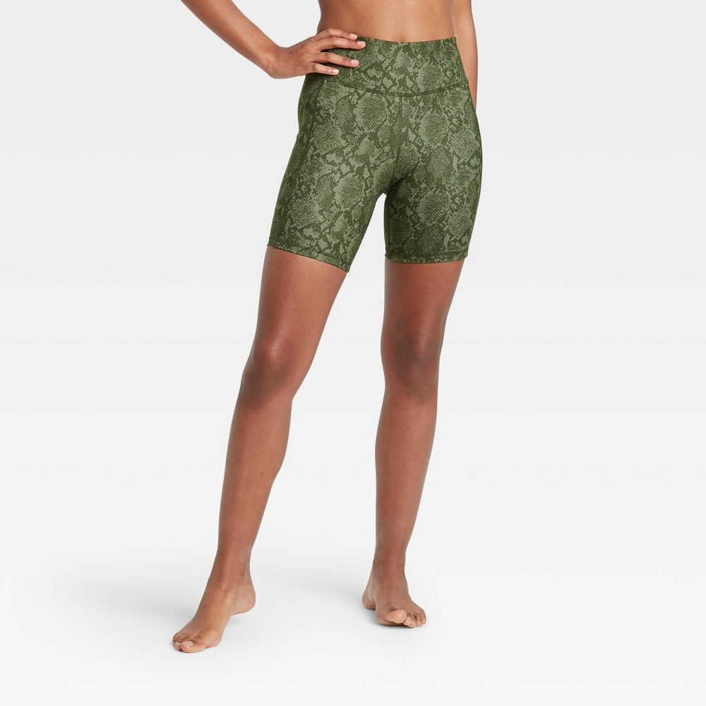 Women 39 S Contour Power Waist High Waisted Shorts 7 34 All In Motion 8482 Olive Green L