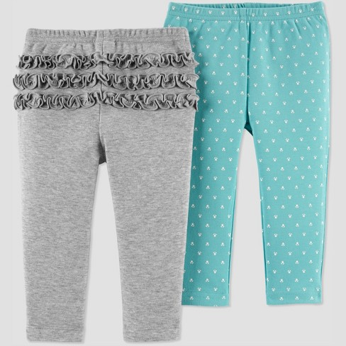 Baby Girls' 2pk Fox Pants - Just One You® made by carter's Heather Gray Newborn - image 1 of 1