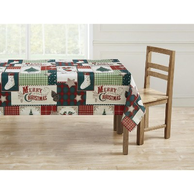 Kate Aurora Holiday Living Plaid Country Farmhouse Merry Christmas Fabric Tablecloth