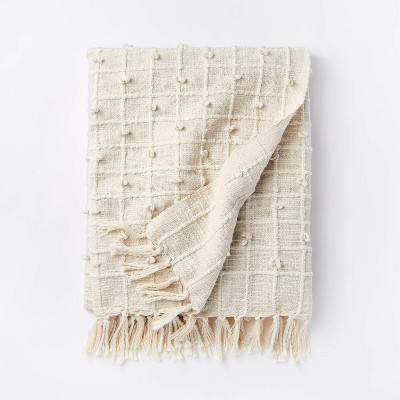 Woven Cotton Plaid Throw Blanket Cream - Threshold™ designed with Studio McGee