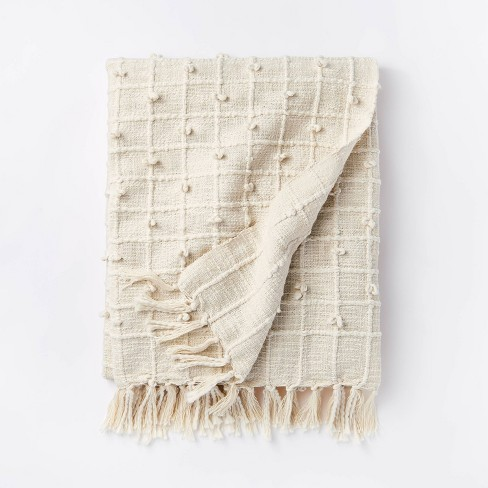 Woven Cotton Textured Loop Throw Blanket Cream - Threshold™ designed with Studio McGee - image 1 of 4