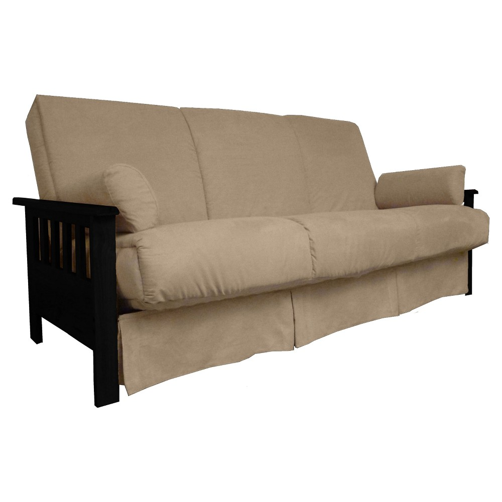 Mission Perfect Convertible Futon Sofa Sleeper - Black Finish Wood Arms - Khaki (Green) Upholstery - Queen-size - Sit N Sleep