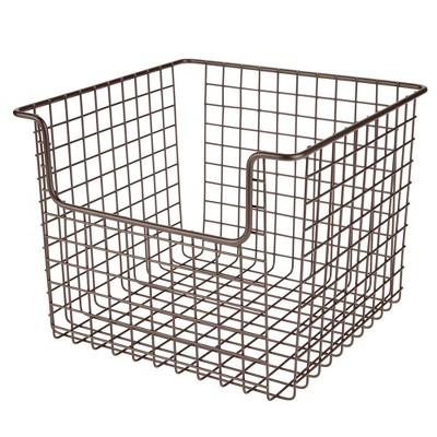 mDesign Metal Open Front Kitchen Food Storage Basket, 2 Pack