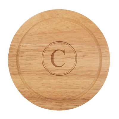 Cathy's Concepts Monogram Acacia Wood 5pc Serving Tray with Tool Set C