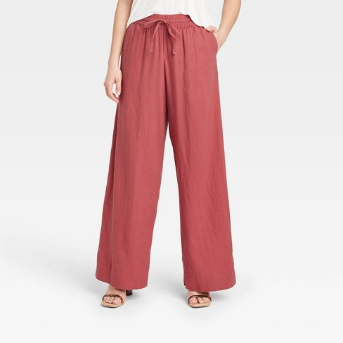 Women's Mid-Rise Relaxed Fit Pants - A New Day™ - image 1 of 3