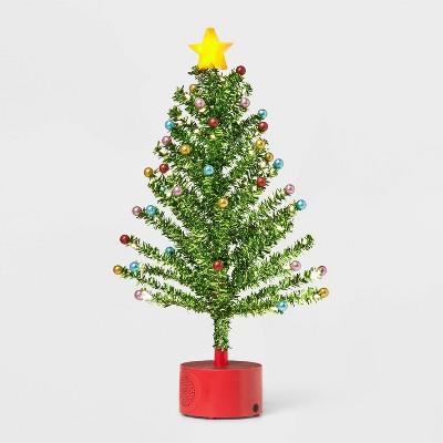 Rotating Tinsel Christmas Tree Decorative Figurine Green - Wondershop™