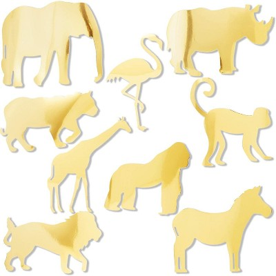 Sparkle and Bash 9-Pack Jungle Safari Paper Cutouts, Zoo Animal Theme Party Decoration for Baby Shower, Kids Birthday, Gold