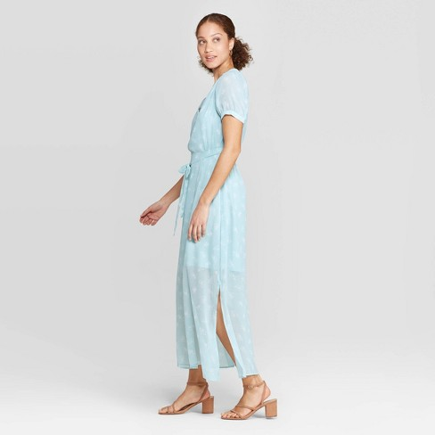 a6cdb80f3c Women s Floral Print Casual Fit Short Sleeve Deep V-Neck Chiffon Maxi Dress  - A New Day™ Turquoise. Shop all A New Day