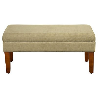 Charmant Decorative Storage Bench Tan With Gold Chenille Tweed   HomePop