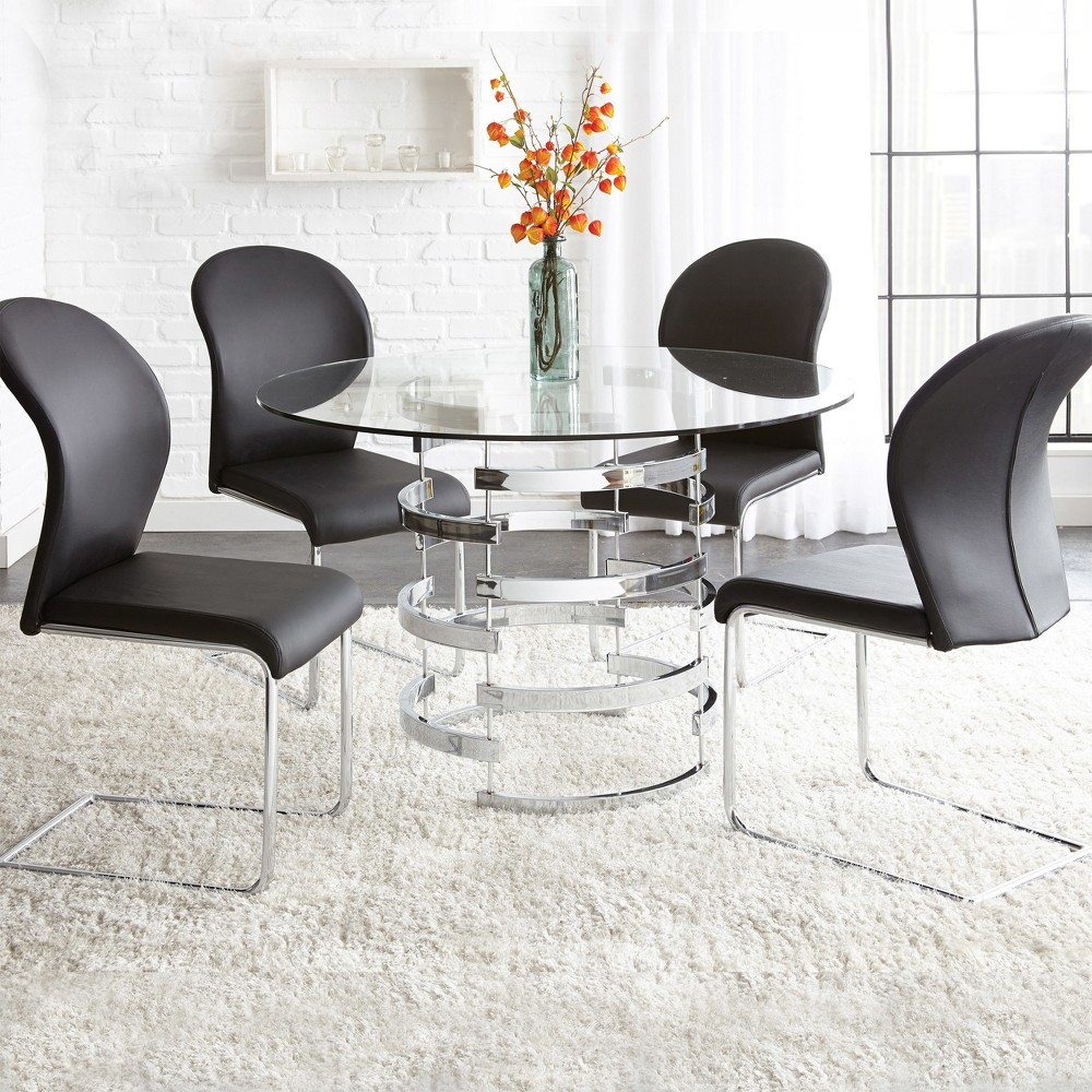 Image of 5Pc Tarik Dining Set Glass and Chrome - Steve Silver, Glass/Grey