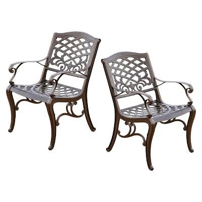 sarasota set of 2 cast aluminum patio chair hammered bronze rh target com aluminum patio chairs with cushions aluminum patio chairs stackable
