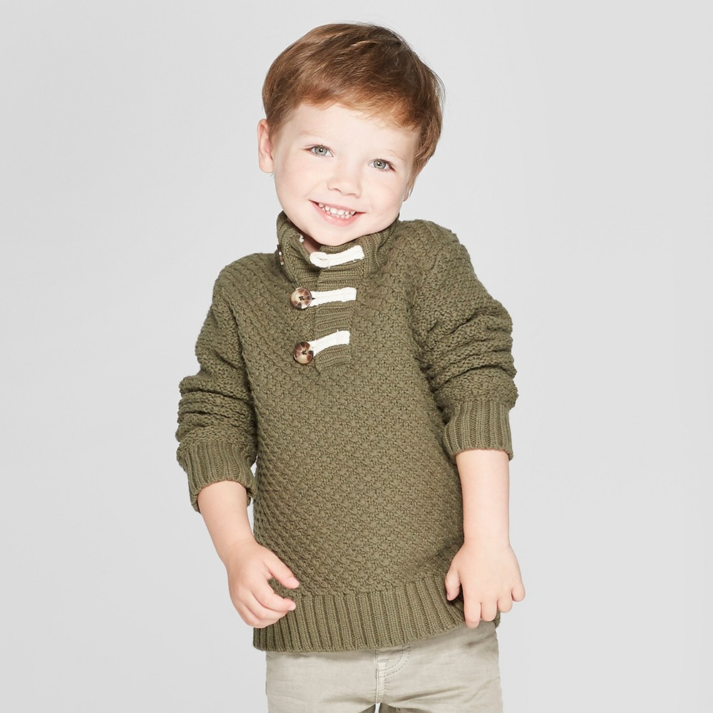 Toddler Boys' Mock Neck Toggle Sweater - Cat & Jack Green 3T