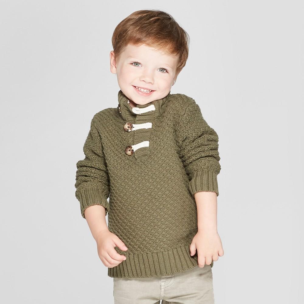 Toddler Boys' Mock Neck Toggle Sweater - Cat & Jack Green 12 M, Size: 12M