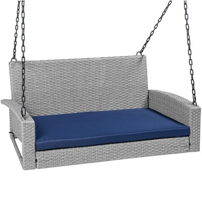 Best Choice Products Woven Wicker Hanging Porch Swing Bench for Patio	Deck w/ Mounting Chains	Seat Cushion