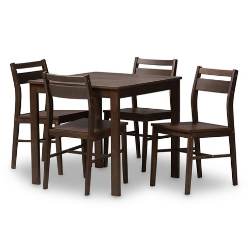 Lovy Modern And Contemporary Walnut Finished 5pc Dining Set Dark Brown Baxton Studio