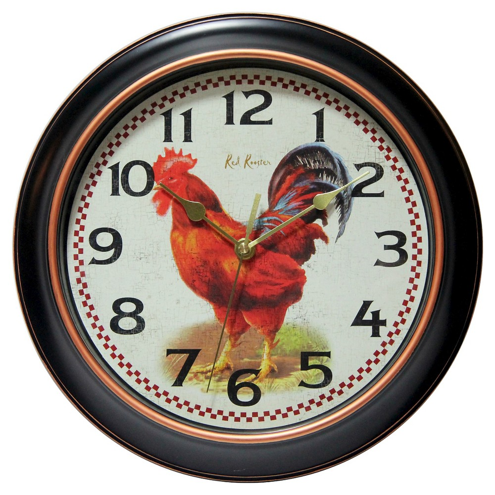 """Image of """"Rotterdam Rooster 12"""""""" Round Wall Clock Black - Infinity Instruments"""""""