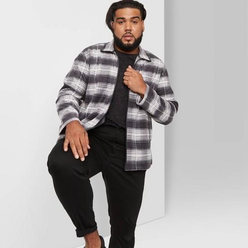 Men's Big & Tall Checked Full-Zip Fleece Jacket - Original Use™ Gray - image 1 of 3