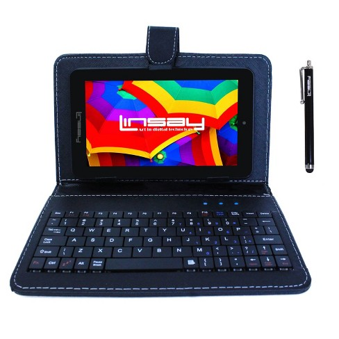 "LINSAY 7"" HD Quad Core Tablet with Black Keyboard Case and Stylus Pen 16GB - image 1 of 3"
