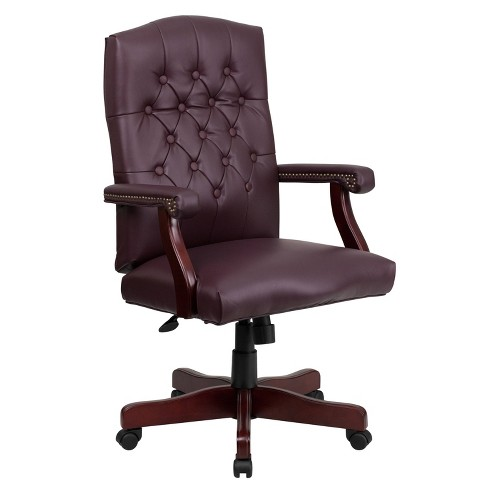 Martha Washington Burgundy Leather Swivel Office Chair - Flash Furniture - image 1 of 4