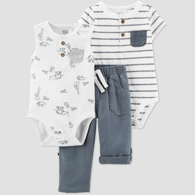 Baby Boys' Safari/Stripe Top and Bottom Set - Just One You® made by carter's Dark White/Gray 24M