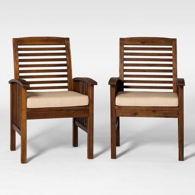 Acacia Patio Chairs with Cushions - Set of 2- Dark Brown - Saracina Home