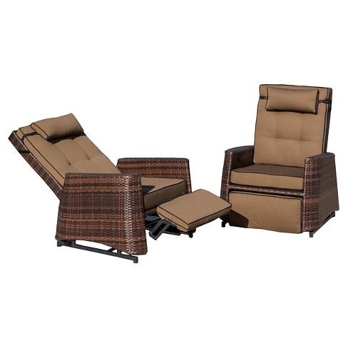 Wicker Set of 2 Patio Recliners - Brown - Christopher Knight Home - image 1 of 4