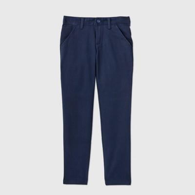 Girls' Flat Front Stretch Uniform Skinny Pants - Cat & Jack™ Navy