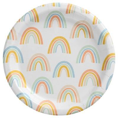 "8.5"" 20ct Rainbow Disposable Dinner Plates - Spritz™"