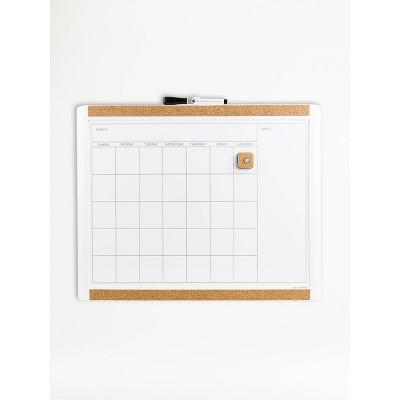 """U Brands 20""""x16"""" PINIT Magnetic Dry Erase Calendar Board"""