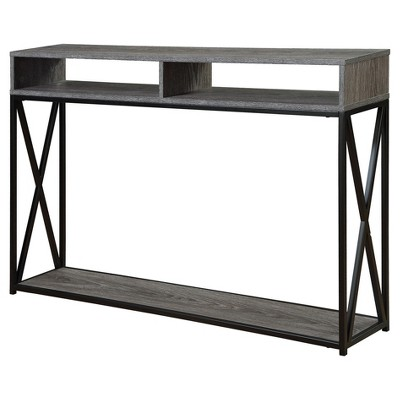 Tucson Deluxe 2 Tier Console Table - Weathered Gray - Black - Convenience Concepts
