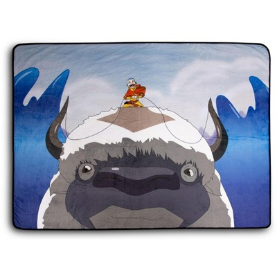 Surreal Entertainment Avatar: The Last Airbender Aang and Appa Fleece Throw Blanket | 45 x 60 Inches
