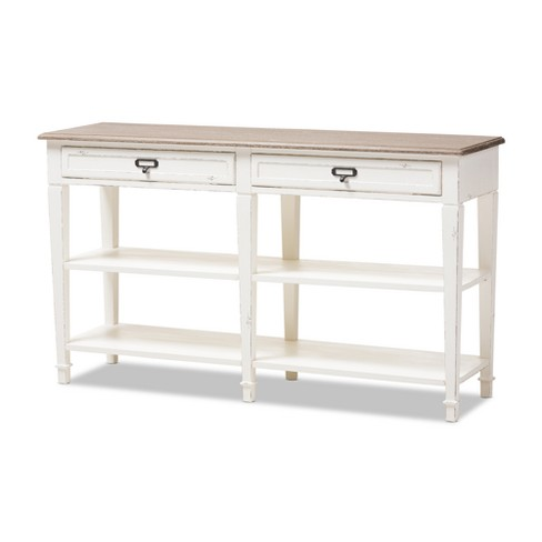 Dauphine Provincial Style Weathered Oak And Wash Distressed Finish Wood Console Table White Baxton Studio