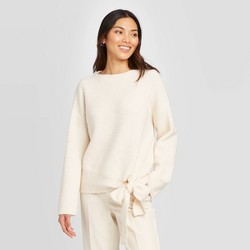 Women's Crewneck Tie-Hem Pullover Sweater - A New Day™