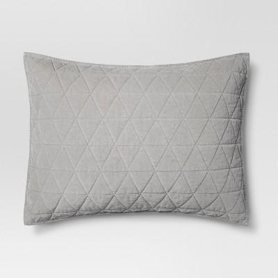 Gray Vintage Wash Velvet Sham (King)- Threshold™
