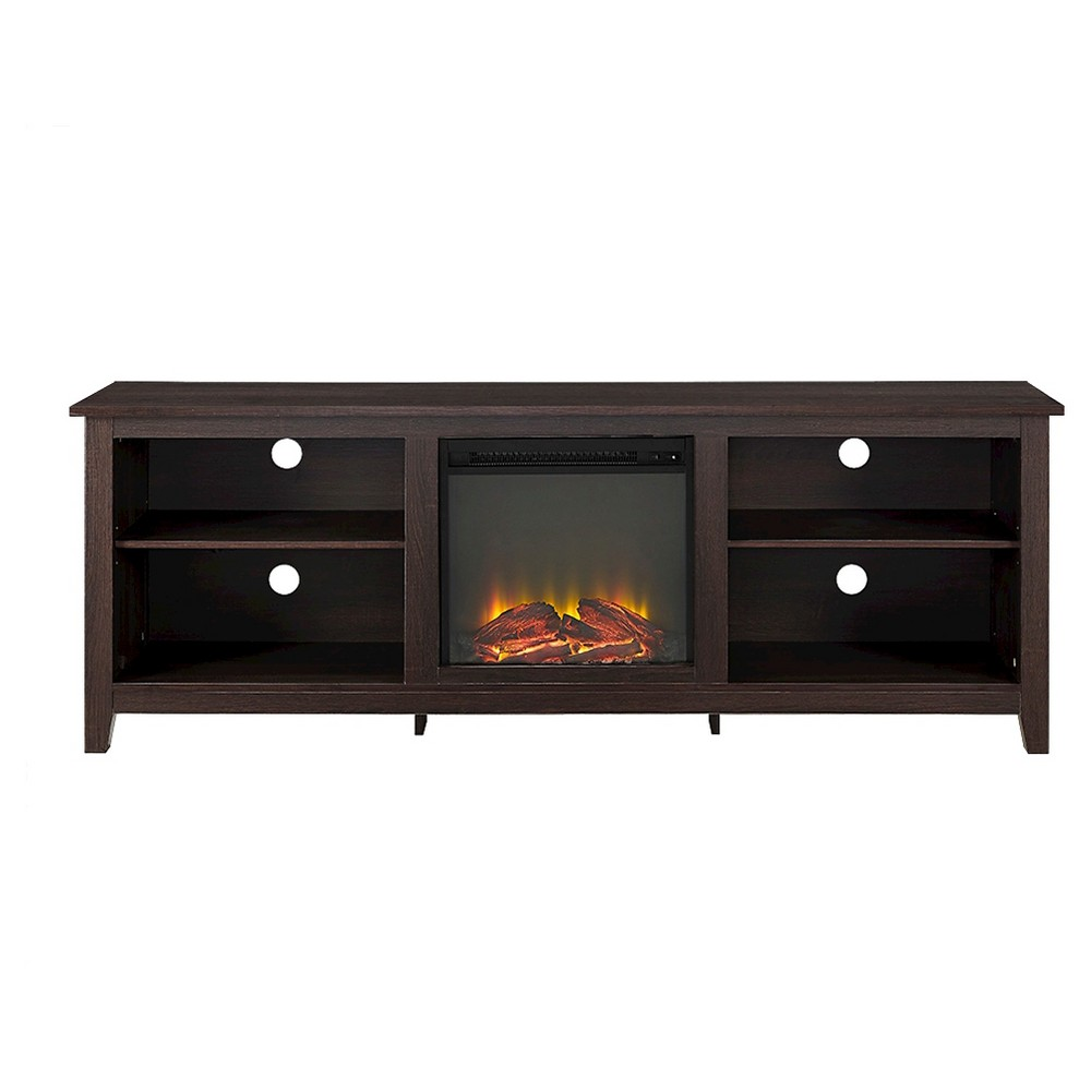 70 Wood Media TV Stand Console with Fireplace - Espresso - Saracina Home, Brown