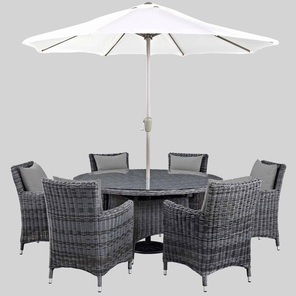 Summon 8pc Outdoor Dining Set with Sunbrella Fabric - Gray - Modway