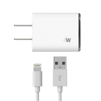 Just Wireless 2.4A/12W 1-Port USB-A Home Charger with 10ft TPU Lightning to USB-A Cable - White