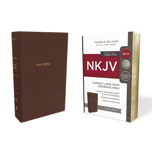 NKJV, Reference Bible, Compact Large Print, Imitation Leather, Brown, Red Letter Edition, Comfort Print - image 1 of 1